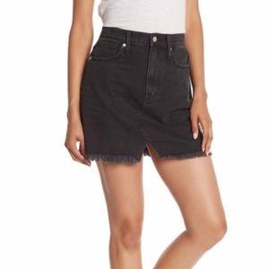 Madewell Black A line Distressed Denim Skirt